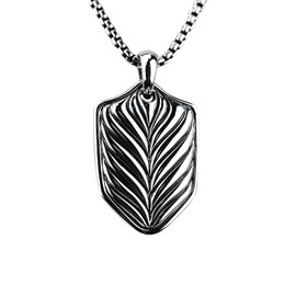 David Yurman Sterling Silver Chevron Shield Dog Tag Necklace