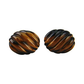 David Yurman 925 Sterling Silver Tiger Eye Sculpted Cable Oval Cufflinks