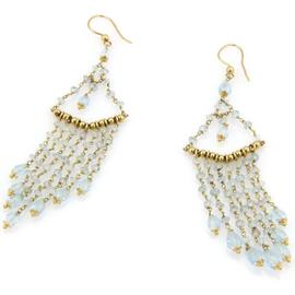 14K Yellow Gold Aquamarine Briolette Dangle Earrings