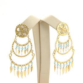 18K Yellow Gold Aquamarine Dangle Earrings
