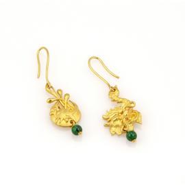 24K Yellow Gold Jadeite Bead Good Luck Earrings