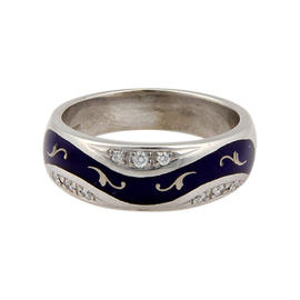 Faberge 18K White Gold Blue Enamel & Diamond Ring