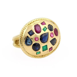 18K Yellow Gold & Multi-Colored Gemstone Cocktail Ring