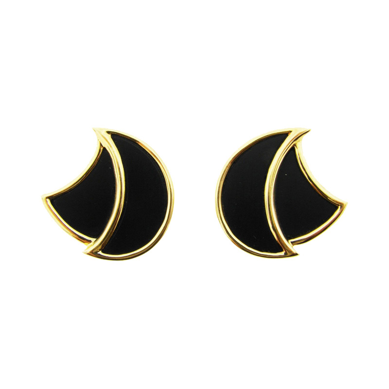 "Image of ""H. Dunay Shield 18K Yellow Gold & Onyx Earrings"""