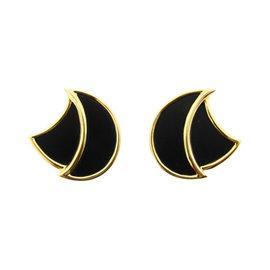 H. Dunay Shield 18K Yellow Gold & Onyx Earrings