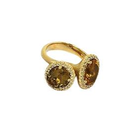 14K Gold Diamonds & Citrine Flower Motif Ring