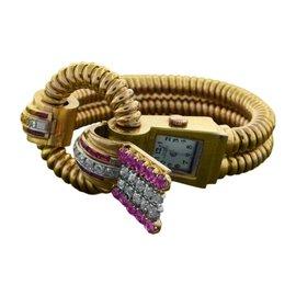 Girard Perregaux Yellow Gold Diamond Ruby Retro Watch Bracelet