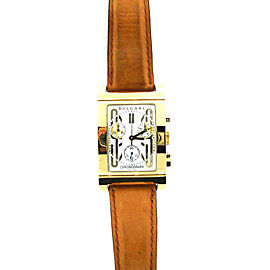 Bvlgari Bulgari 18k Yellow Gold & Leather Rettangolo Watch