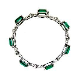 H. Stern 18k White Gold, Green Tourmaline & Diamond Bracelet