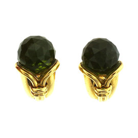 Bulgari C.1980 Cornucopia 18K Yellow Gold Green Tourmaline Clip On Earrings