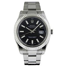 Rolex Datejust II 116334 BKSO Black 18K Gold Automatic Swiss 41mm Mens Watch