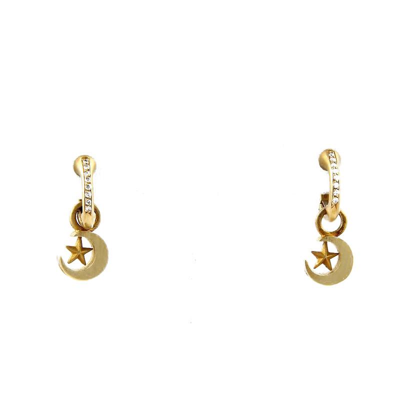 """Image of """"Kieselstein Cord 18k Gold Crescent Moon & Stars Drop Dangle Earrings"""""""
