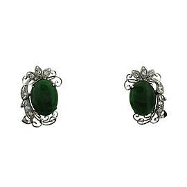 14K White Gold Diamond Apple Jade Earrings French Backs