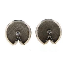 14K White Gold & Round Old Cut Diamond Cufflinks
