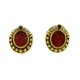 Judith Ripka 18K YG, Carved Cornelian, Diamond & Cabochon Emerald Earrings