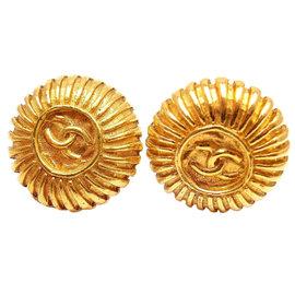 Chanel Gold Tone CC Logo Clip On Earrings