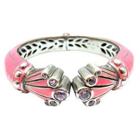 Matthew Campbell Laurenza Silver Etched Pink Enamel Amethyst Bracelet