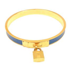 Hermes Gold Plated Blue Cadena Leather Bangle Braclet
