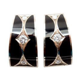 Stephen Webster 18K White Gold Diamond Black Enamel Earrings