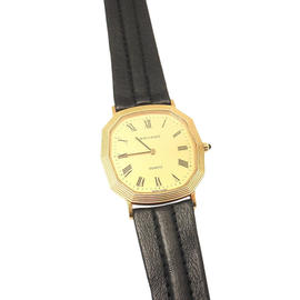 Movado 14K Yellow Gold Leather Band Quartz Watch