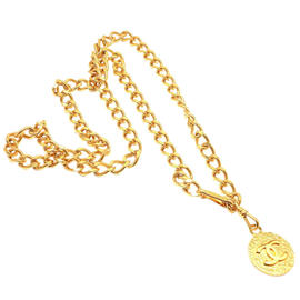 Chanel Gold Tone Thin Logo Necklace