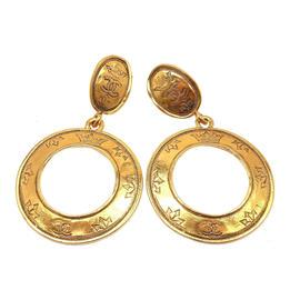 Chanel Gold Tone Logo Hoop Earrings