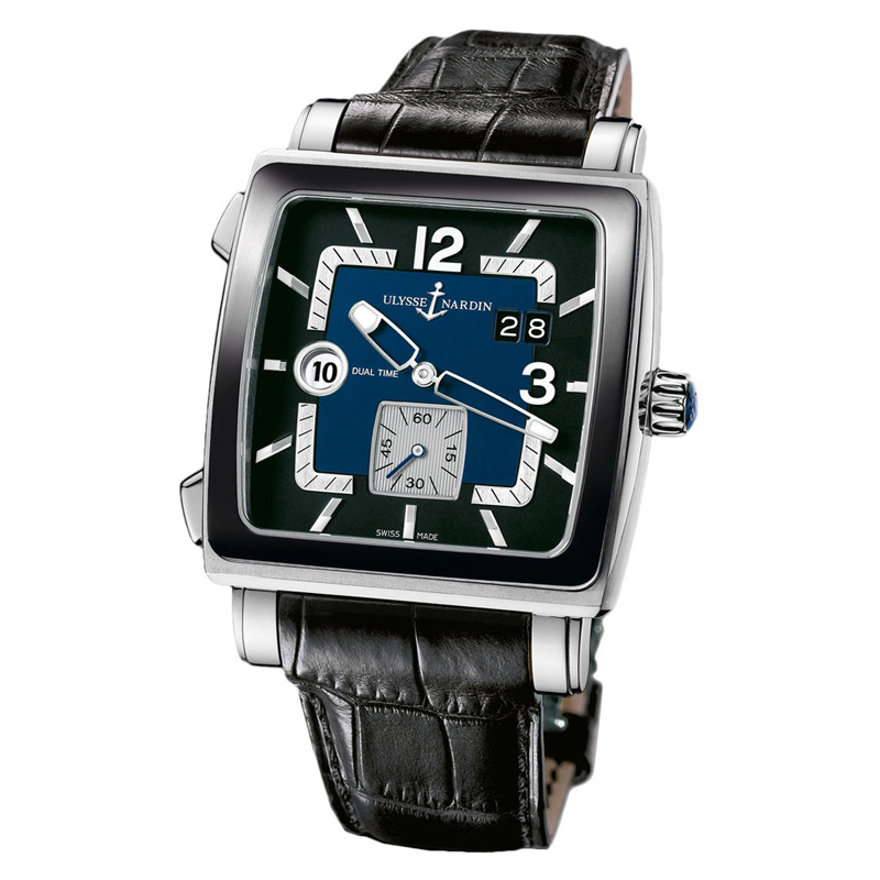 "Image of ""Ulysse Nardin 243-92cer/632 Quadrato Dual Time Stainless Steel Watch"""