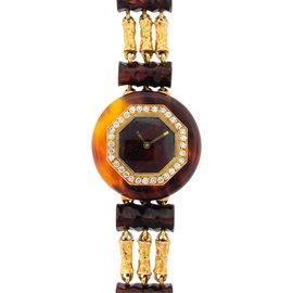 Boucheron Yellow Gold Diamond Bakelite Ladies Watch
