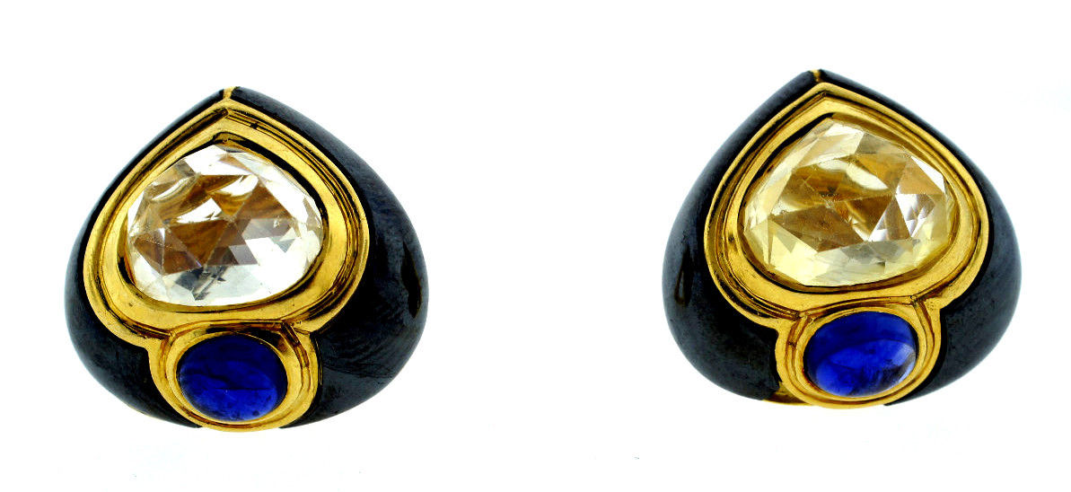 """Image of """"Bvlgari Vintage Yellow Gold & Multi Sapphire Clip Earrings"""""""