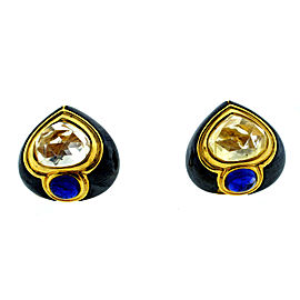 Bvlgari Vintage Yellow Gold & Multi Sapphire Clip Earrings