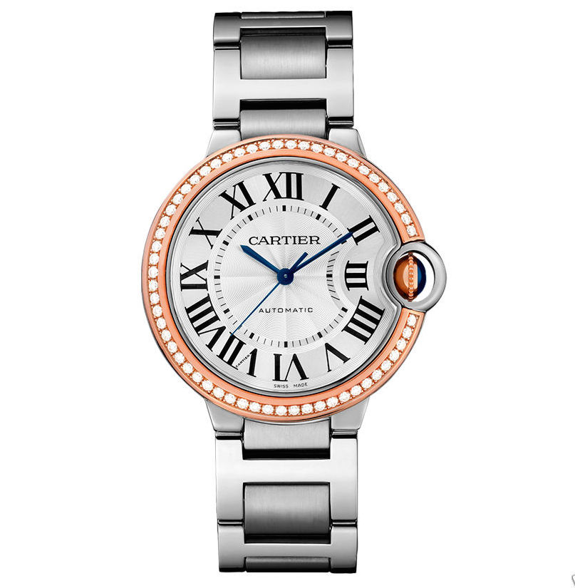 Cartier We902081 Ballon Bleu Stainless Steel & Rose Gold Diamond 36mm