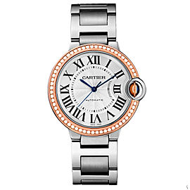 Cartier WE902081 Ballon Bleu Stainless Steel & Rose Gold Diamond 36mm Womens Watch