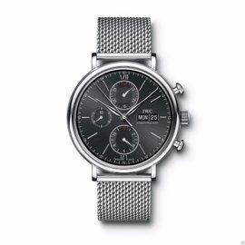 IWC Portofino Chronograph IW391010 Ss Mesh Bracelet Black Dial Mens Watch