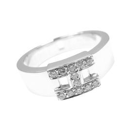 Hermes 18K White Gold Diamond H Band Ring