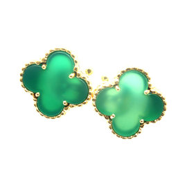 Van Cleef & Arpels 18K Gold Vintage Alhambra Green Agate Earrings