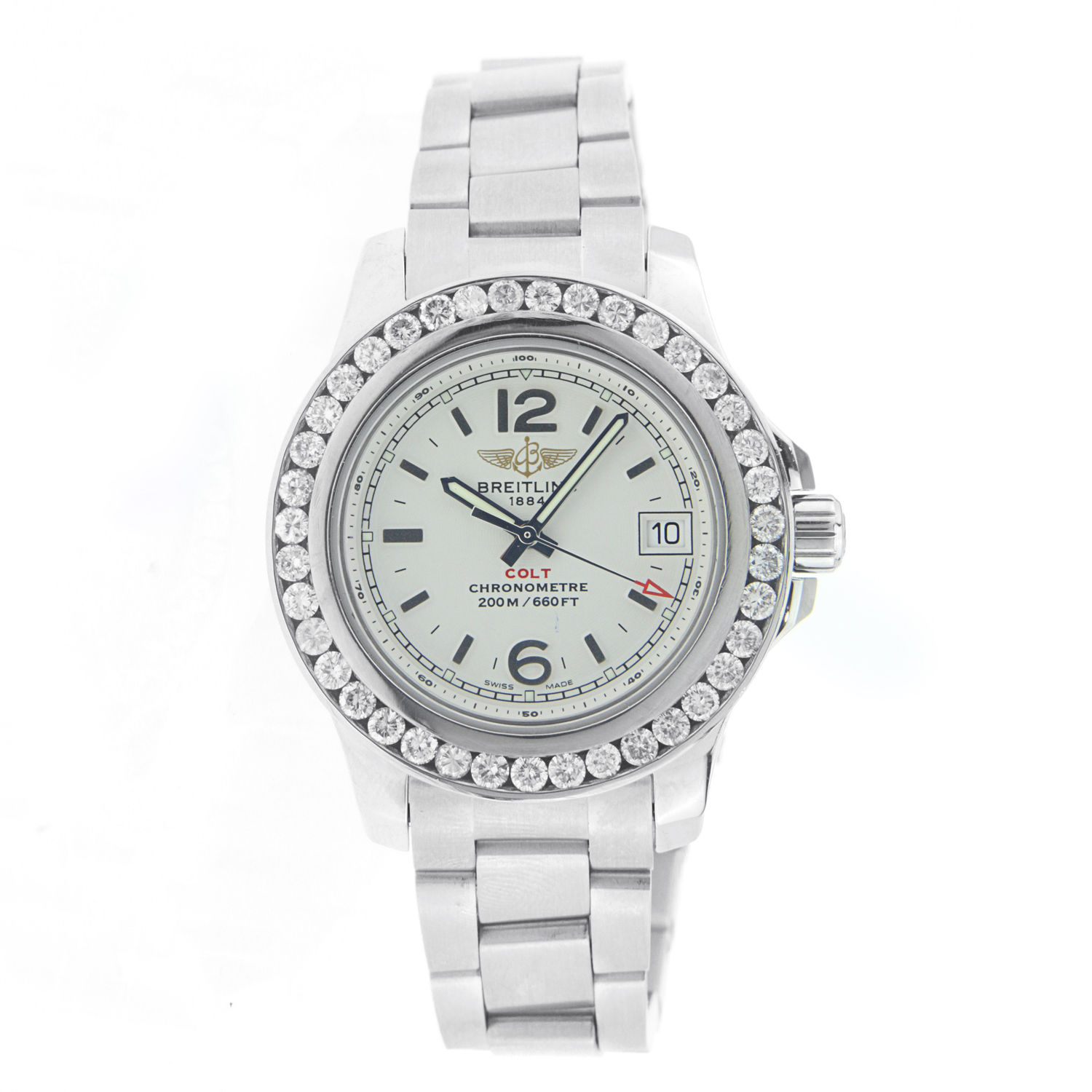 "Image of ""Breitling Colt Lady A77383 Stainless Steel Diamond Bezel Watch"""