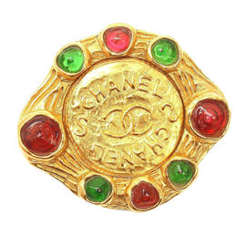 Chanel Vintage Gripoix Red Green Logo Pin Brooch