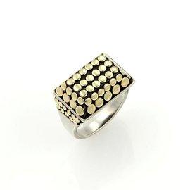 John Hardy 18k Yellow Gold & Sterling Silver Rectangular Top Dot Ring