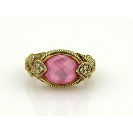 Judith Ripka 18K Yellow Gold Pink Quartz & Diamonds Cocktail Ring