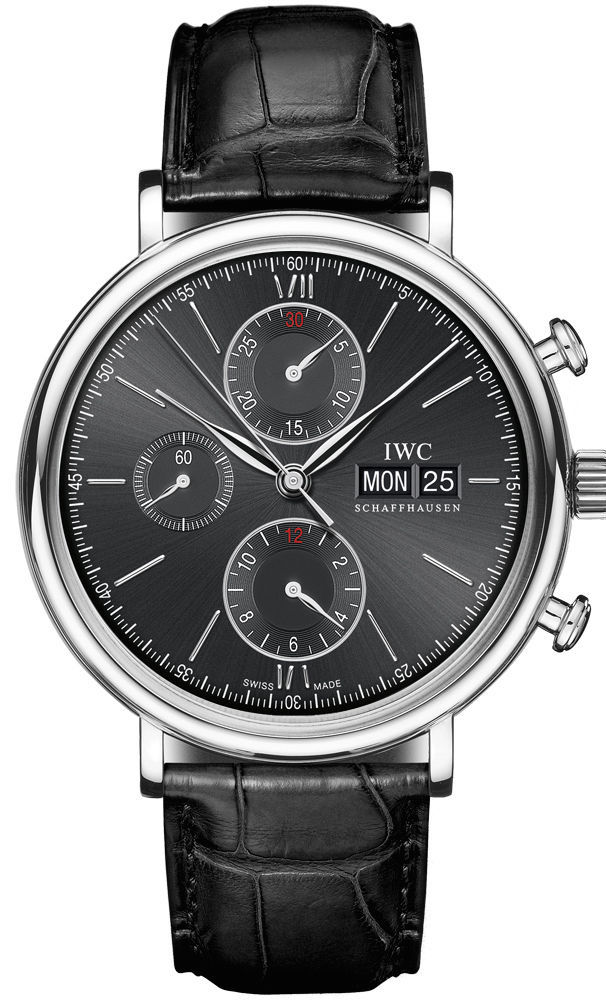 """Image of """"IWC Iw391008 Portofino Chronograph Stainless Steel Black Dial Leather"""""""