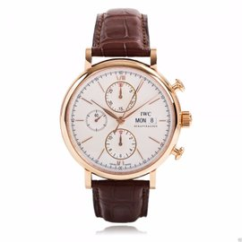 IWC Portofino Chronograph IW391020 18K Rose Gold Silver Dial Watch