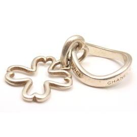 Chanel Sterling Silver Logo Charm Ring