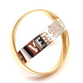 Versace 18K Yellow White Gold Double Stencil Logo Ring Size 11.75