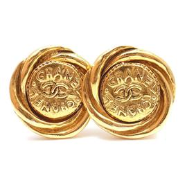 Chanel Vintage Medium Gold Tone Swirled Edge Clip on Logo Earrings