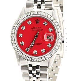 Rolex Datejust Red Diamond Dial Stainless Steel 36mm Watch