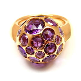 Pomellato Harem 18k Yellow Gold Amethyst Ring Size 4.5