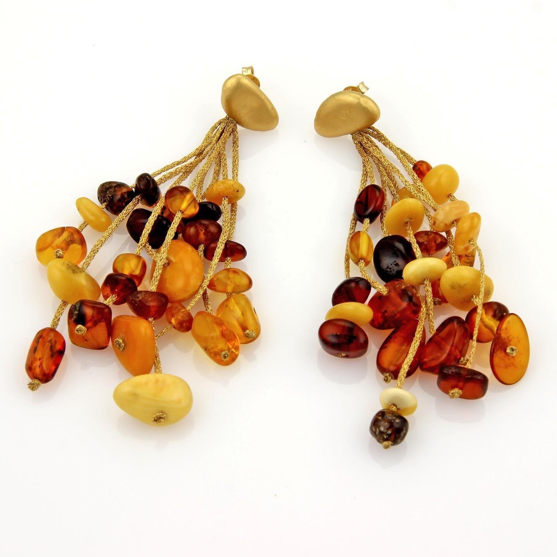"Image of ""Calgaro Amber Multi-Strand Drop Dangle 18K Yellow Gold Earrings"""