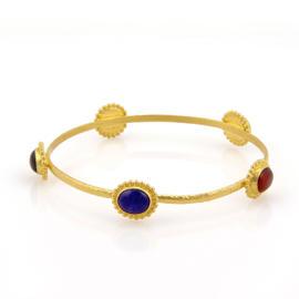 Gurhan 24K Yellow Gold 5 Multi Color Stone Bangle Bracelet