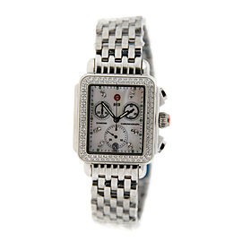 Michele MW06A00 Deco Day Chronograph Diamond Stainless Steel Womens Watch