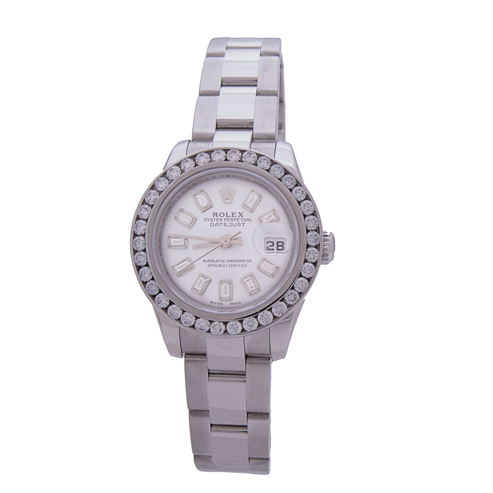 """Image of """"Rolex 179160 Date Just Diamond Bezel & Dial White Dial Steel Automatic"""""""